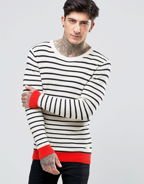 Scotch & Soda With Stripe Contrast Hem And Cuff White Stripe Jumper