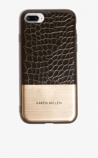 Karen Millen Croc-Effect Phone Case