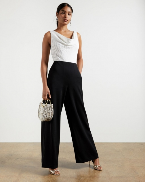 Ted Baker Cowl Neck Wide Leg Jumpsuit