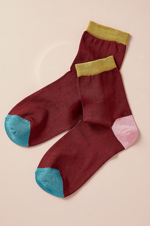 Anthropologie Hysteria Colour Block - Red, Size S/m Sock