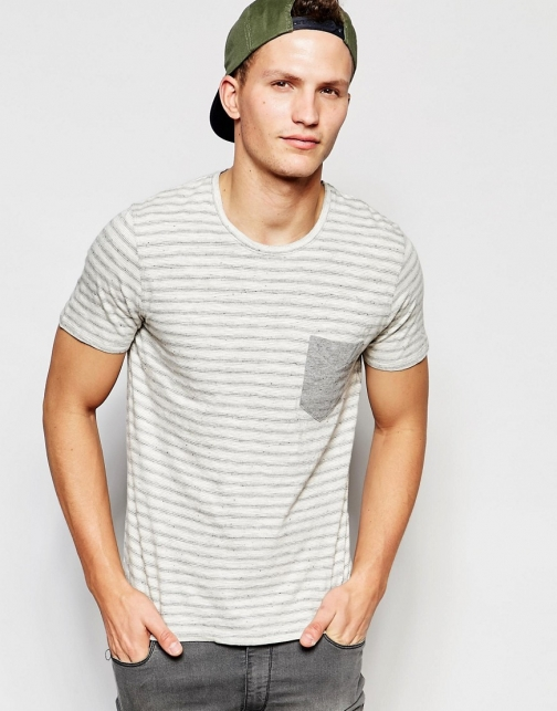 Selected Homme Stripe With Contrast Pocket T-Shirt