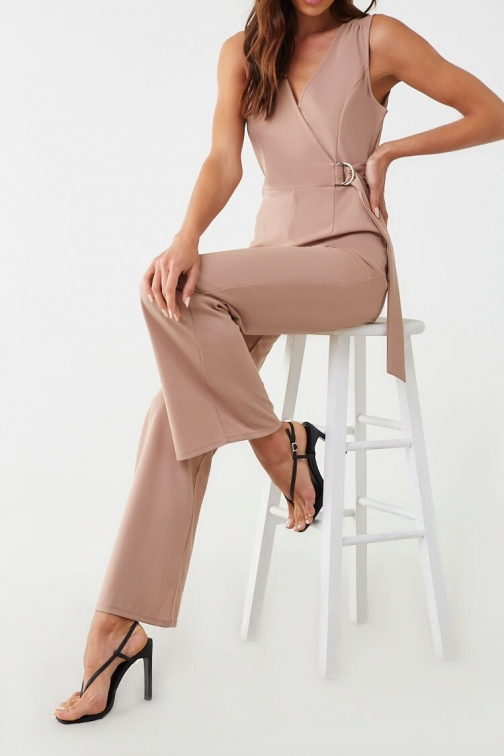 Forever21 Forever 21 Surplice Wide-Leg , Taupe Jumpsuit