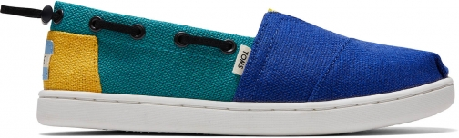 Toms Blue Blue Blocked Heritage Canvas Youth Bimini Shoes Espadrille