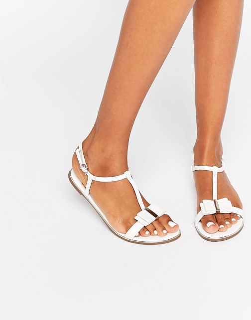Faith Jessie White Bow Flat Sandal