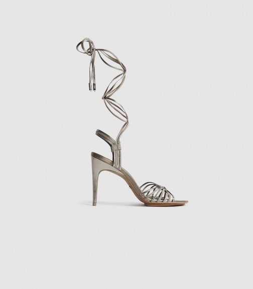 Reiss Cassidy - Strappy High Silver, Womens, Size 3 Heeled Sandals