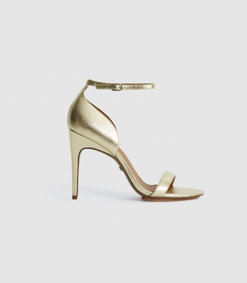 Reiss Paula - Leather Strappy GOLD, Womens, Size 3 Sandals