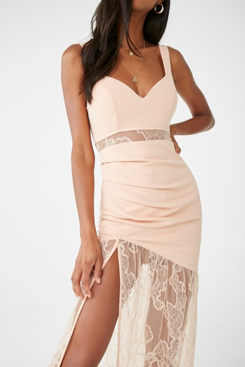 Forever21 Forever 21 Lace Maxi Gown , Nude Maxi Dress