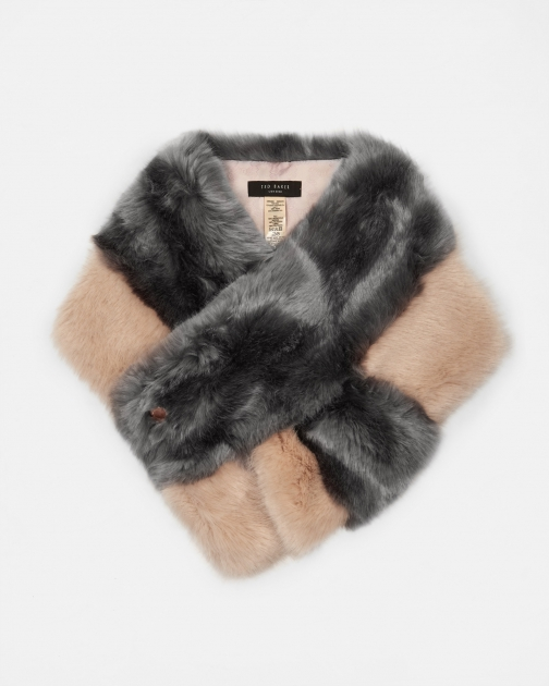 Ted Baker Double Stripe Faux Fur Scarf