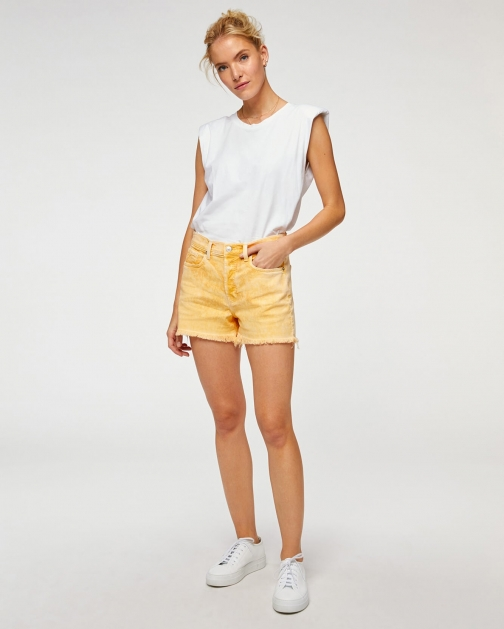 7 For All Mankind Womens Monroe Cut-Off Short Mineral Marigold Size: 24 Trouser