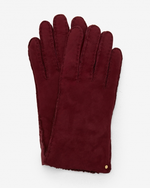 Ted Baker Suede Shearling Oxblood Glove