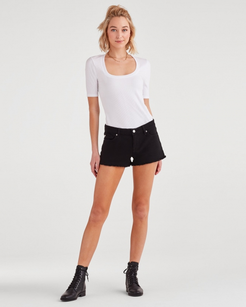 7 For All Mankind Women's Cut Off Black Short