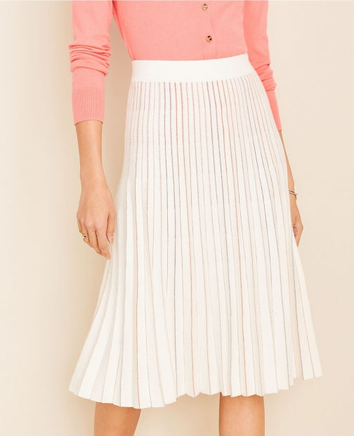 Ann Taylor Metallic Pleated Sweater Skirt