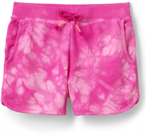 Lands' End Girls Tie Dye French Terry Pull On - Lands' End - Red - S Short