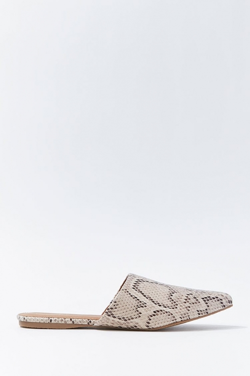 Forever21 Forever 21 Faux Snakeskin Pointed Mules , Beige/multi Shoes