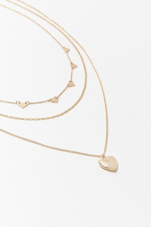 Forever21 Forever 21 Heart Charm Necklace Set , Gold Jewellery