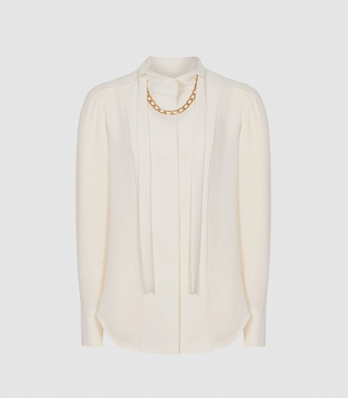 Reiss Amanda - Chain Detail Ivory, Womens, Size 4 Blouse