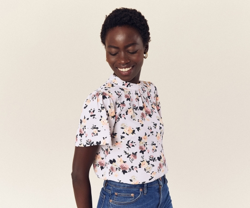 Oasis High Neck Floral Top