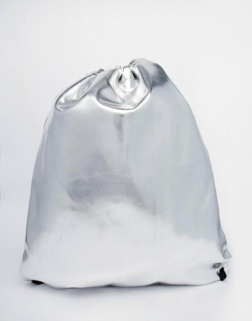 Asos Drawstring Silver Backpack