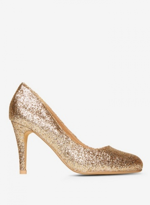 Dorothy Perkins Womens Gold Glitter 'Dallas' Court - Gold, Gold Shoes