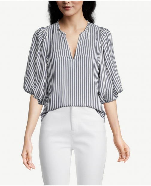 Ann Taylor Factory Petite Pinstripe Ruffle Neck Popover Shirt