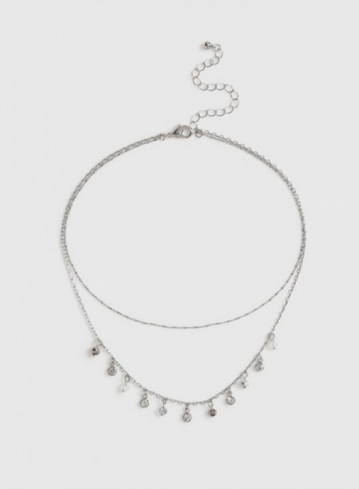 Dorothy Perkins Silver And Crystal Drop Chokers
