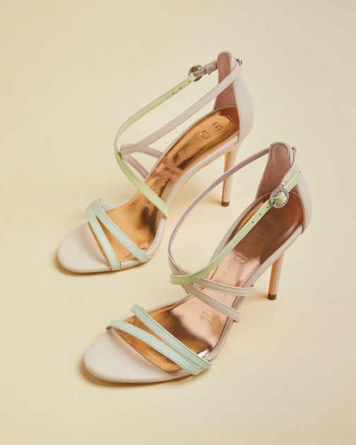 Ted Baker Pastel Leather Strappy Heeled Sandals