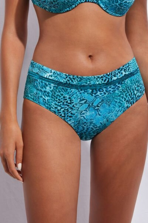 Calzedonia High-Waisted Bottoms Mauritius Woman Blue Size 3 Swimsuit