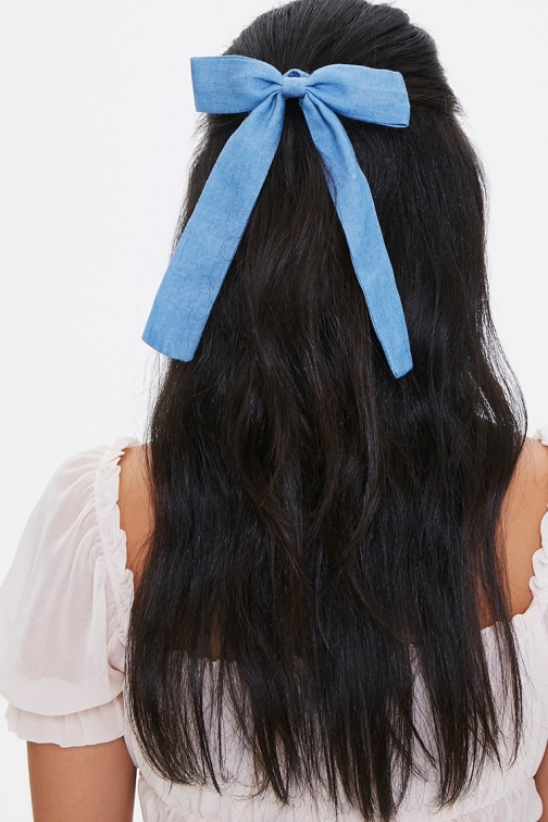 Forever21 Forever 21 Bow Scrunchie , Blue Headwear