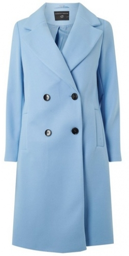 Dorothy Perkins Womens Blue Double Breasted - Blue, Blue Coat