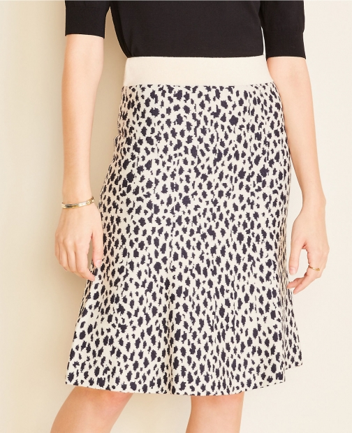 Ann Taylor Petite Cheetah Print Sweater Skirt