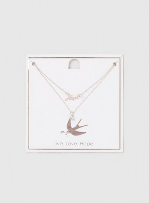 Dorothy Perkins Rose Gold Hope And Bird Ditsy Necklace