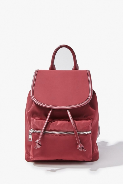Forever21 Forever 21 Faux Leather Trim , Burgundy Backpack