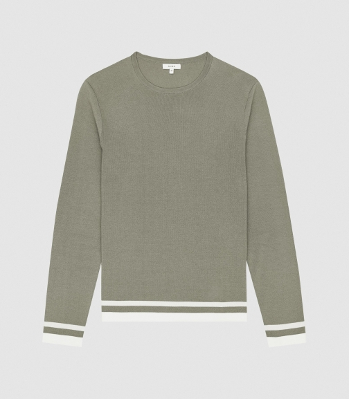 Reiss Handsome - Tipped Crew Neck Sage, Mens, Size XS Jumper
