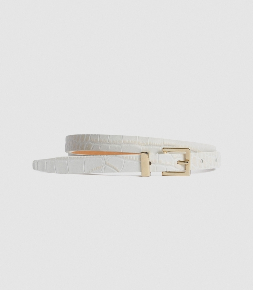 Reiss Olive - Leather Skinny Nude, Womens, Size S Belt