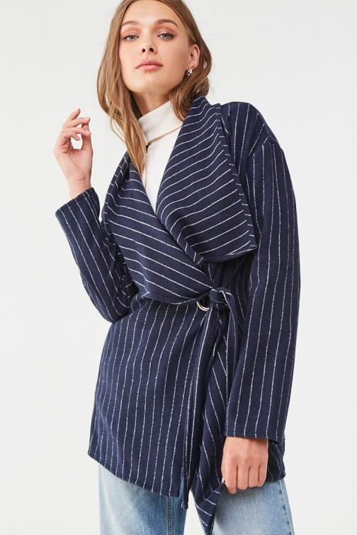 Forever21 Forever 21 Pinstriped Belted , Navy/cream Jacket