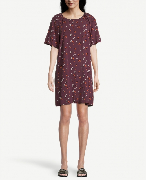 Ann Taylor Factory Floral Puff Sleeve Swing Dress
