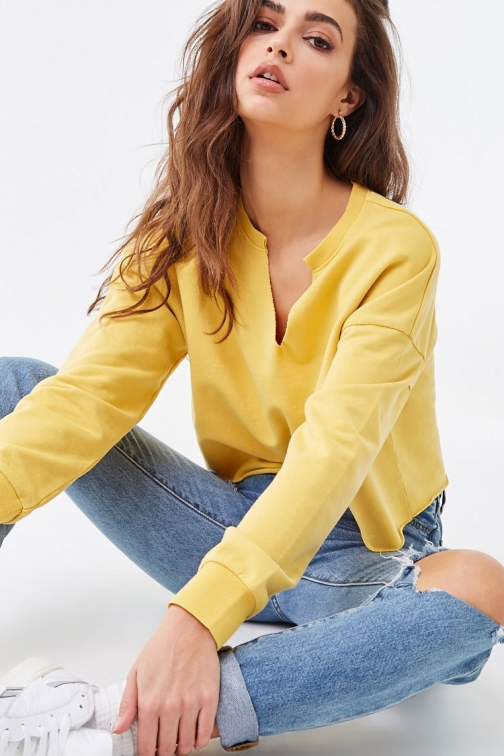 Forever21 Forever 21 Raw-Cut French Terry , Yellow Sweatshirt