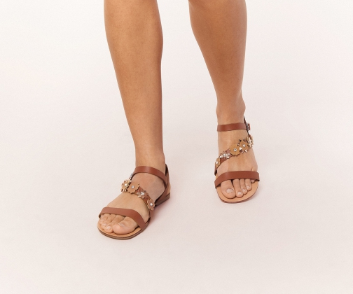 Oasis Leather Flower Strappy Sandal Sandals