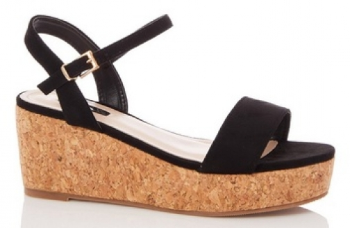 Quiz Wide Fit Black Suede Wedges Wedge Sandal