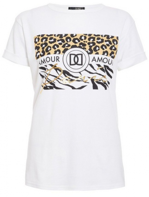 Quiz White Cotton Leopard Print T-Shirt
