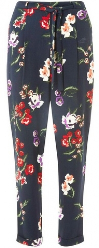Dorothy Perkins Womens Navy Tapered Floral Print Joggers- Navy, Navy Athletic Pant