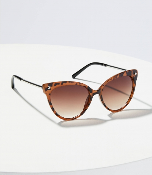 Loft Metallic Arm Tortoiseshell Print Cateye Sunglasses