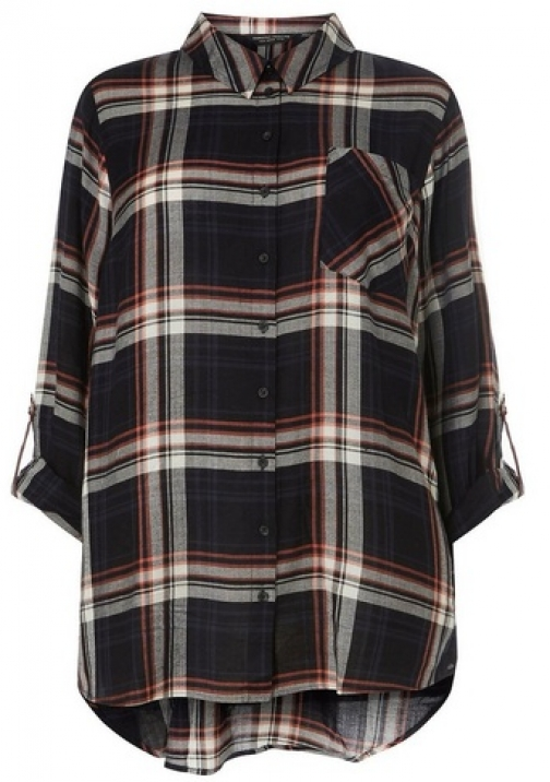 Dorothy Perkins Womens **DP Curve Navy And Pink Long Sleeve Checked - Blue, Blue Shirt