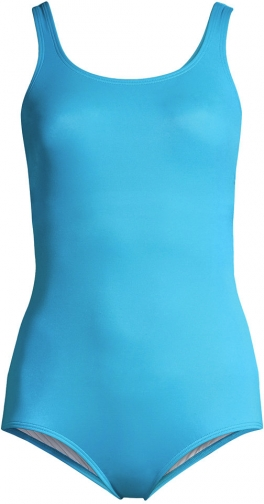Lands' End Women's Plus Size Mastectomy Chlorine Resistant Tugless One Piece Soft Cup - Lands' End - Blue - 16W Swimsuit