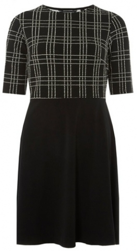 Dorothy Perkins Womens Black And White Check 2--1 Fit And Flare - Black, Black Dress
