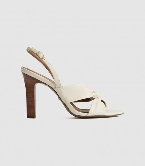 Reiss Phoebe - Leather Twist Front Slingbacks White, Womens, Size 6 Sandals