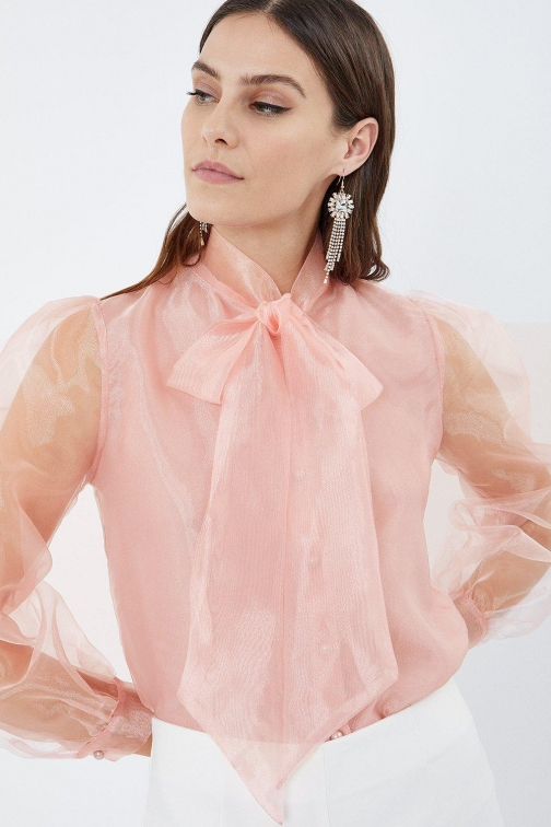Coast Pussy Bow Organza Pink, Pink Blouse