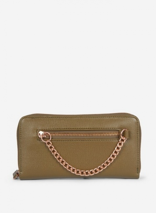 Dorothy Perkins Olive Chain Zip Front Purse
