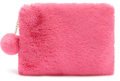 Forever21 Forever 21 Faux Fur Pom Pom Pink Pouch
