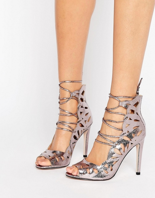 Little Mistress Cut Out Lace Up Peep Toe Heels. Heeled Sandal